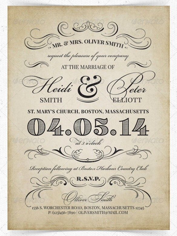 Wedding Invitations Templates Word Free New 24 Vintage Wedding Invitation Templates Psd Ai