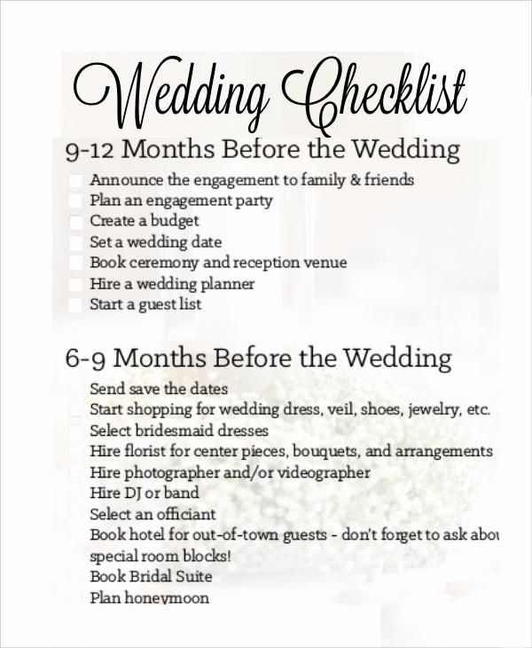 Wedding List to Do Template Fresh Simple Wedding Checklist 23 Free Word Pdf Documents