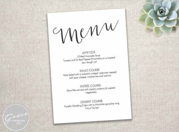 Wedding Menu Template Microsoft Word Awesome 23 event Menu Templates