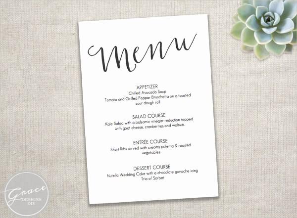 Wedding Menu Template Microsoft Word Awesome 23 event Menu Templates