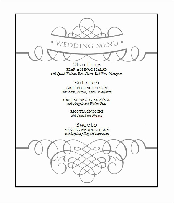 Wedding Menu Template Microsoft Word Beautiful 31 Wedding Menu Templates