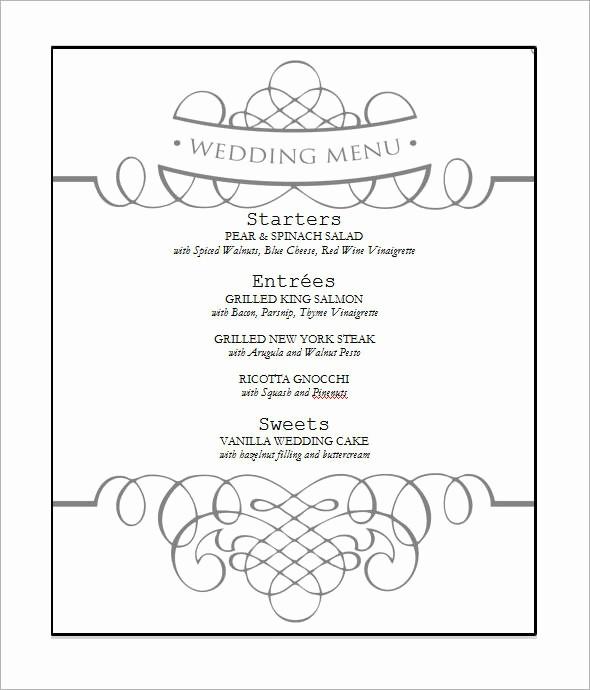 Wedding Menu Template Microsoft Word Beautiful 31 Wedding Menu Templates