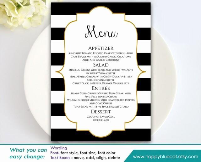 Wedding Menu Template Microsoft Word Beautiful Diy Printable Wedding Menu Template Instant Download