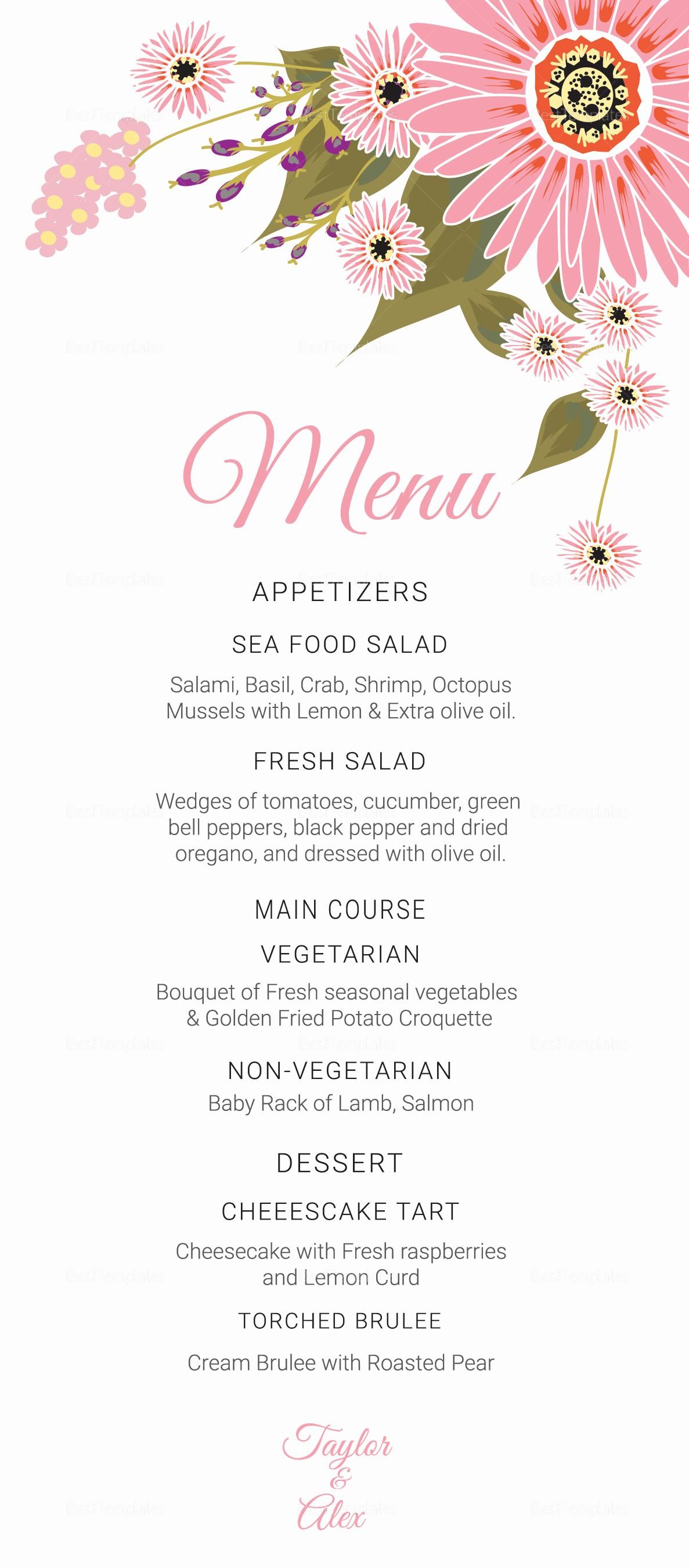 Wedding Menu Template Microsoft Word Beautiful Floral Wedding Menu Card Design Template In Illustrator