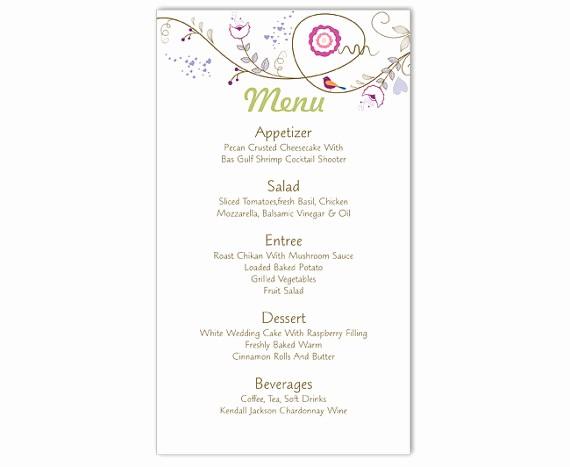 Wedding Menu Template Microsoft Word Best Of Wedding Menu Template Diy Menu Card Template Editable Text