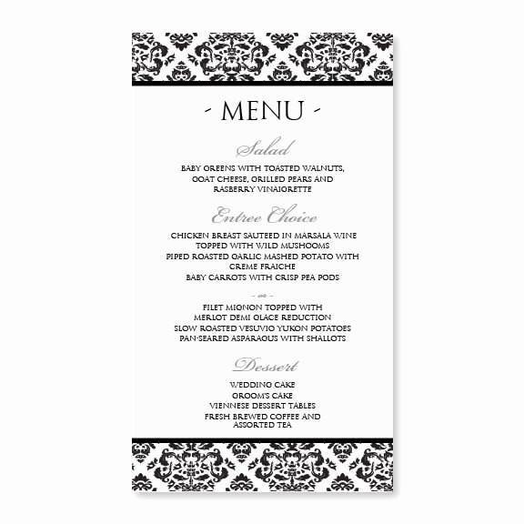 Wedding Menu Template Microsoft Word Fresh Damask Wedding Menu Template Editable Text Black 4 X 7