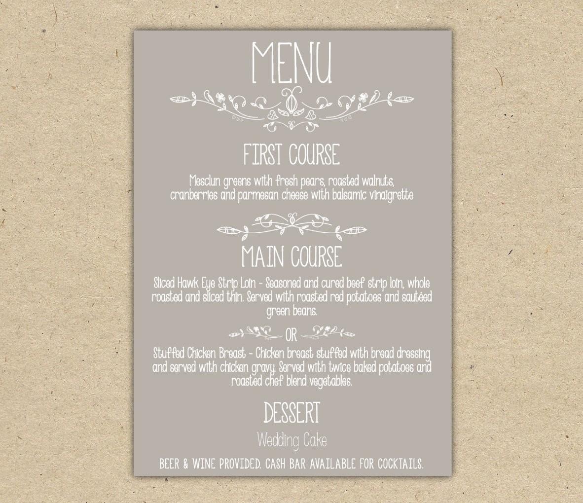Wedding Menu Template Microsoft Word Fresh Kitchen & Dining