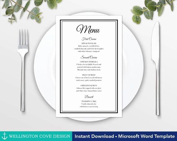 Wedding Menu Template Microsoft Word Fresh Printable Wedding Menu Template for Microsoft Word Elegant