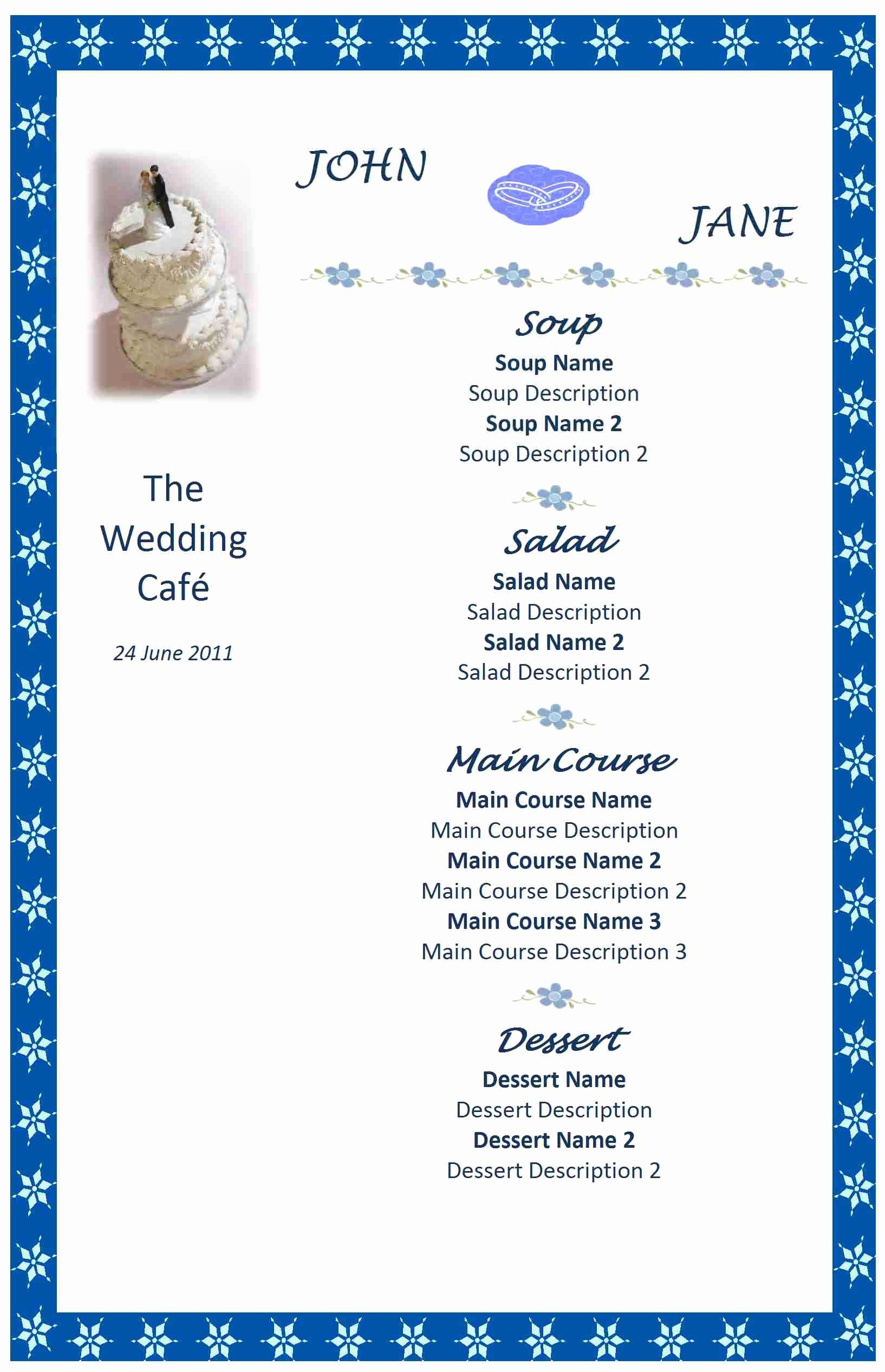 Wedding Menu Template Microsoft Word Fresh Wedding Menu