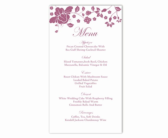 Wedding Menu Template Microsoft Word Fresh Wedding Menu Template Diy Menu Card Template Editable Text