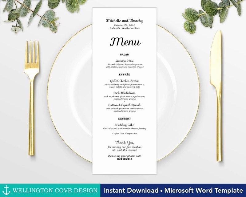 Wedding Menu Template Microsoft Word Fresh Wedding Menu Template for Microsoft Word Printable Instant