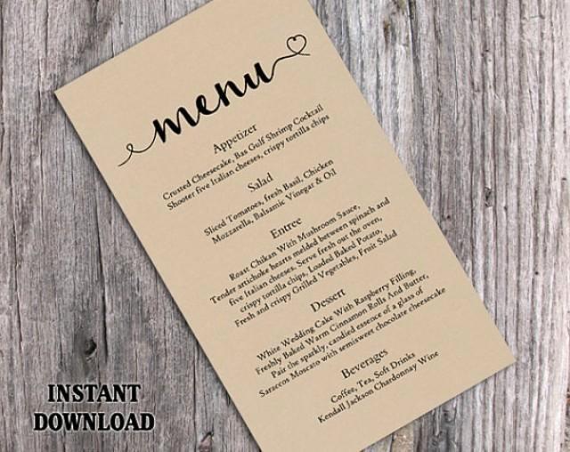 Wedding Menu Template Microsoft Word Inspirational Burlap Wedding Menu Template Diy Menu Card Template