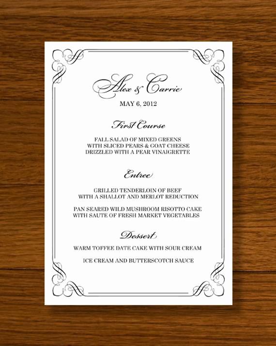 Wedding Menu Template Microsoft Word Inspirational Instant Download Wedding Menu Template forever Design by