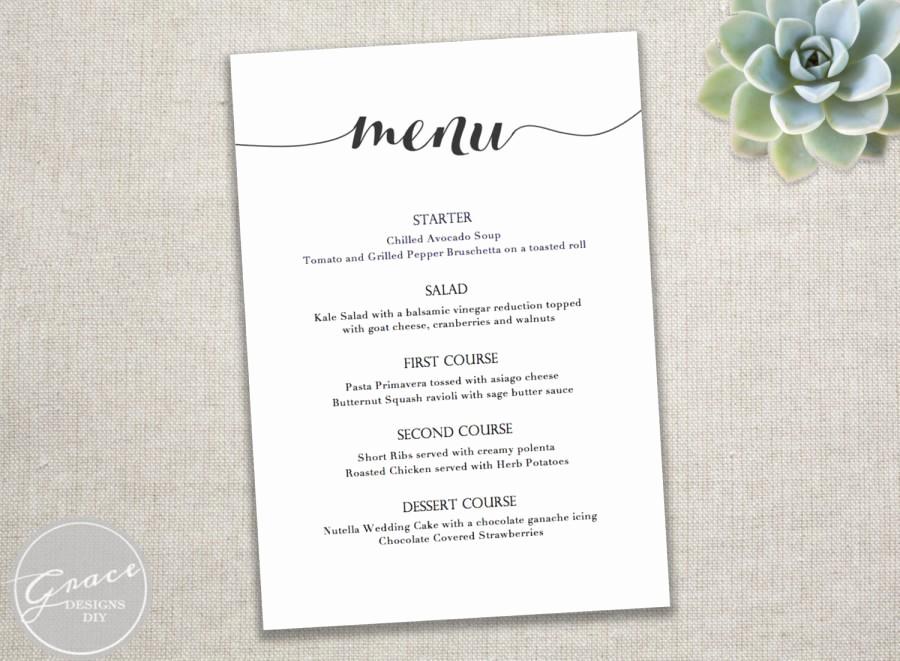 Wedding Menu Template Microsoft Word Inspirational Printable Black Menu Template Calligraphy Style Script