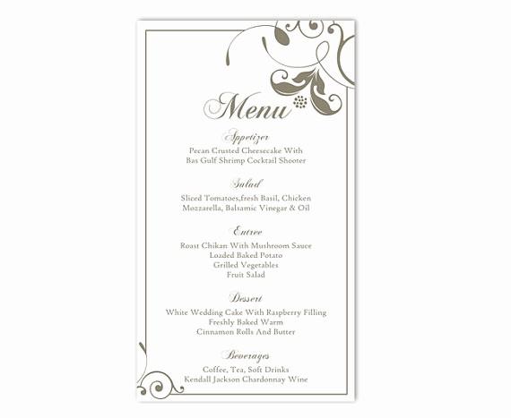 Wedding Menu Template Microsoft Word Inspirational Wedding Menu Template Diy Menu Card Template Editable Text