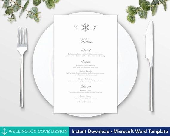 Wedding Menu Template Microsoft Word Inspirational Winter Wedding Menu Template for Microsoft Word Printable