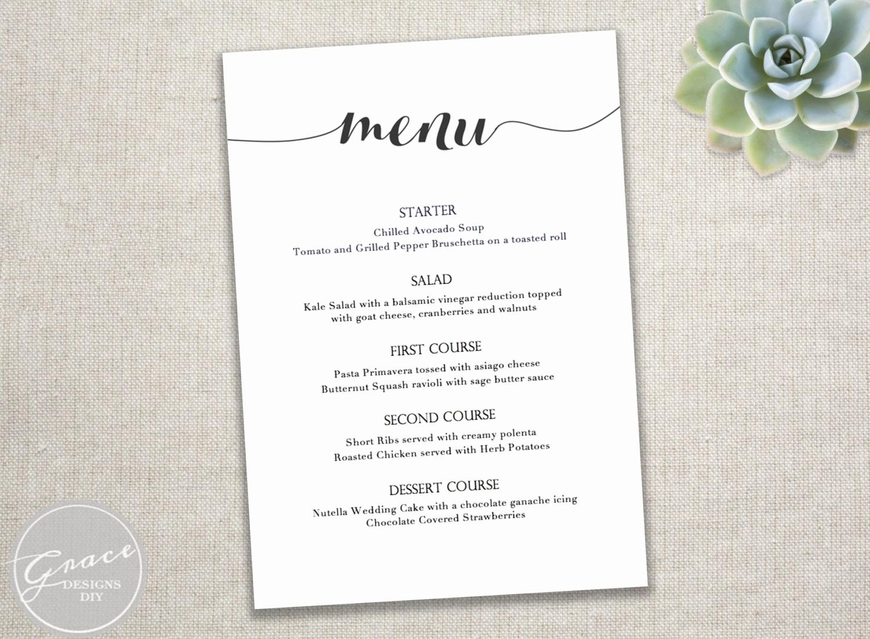 Wedding Menu Template Microsoft Word Lovely Menu Dinner Menu Template Dinner Menu Template