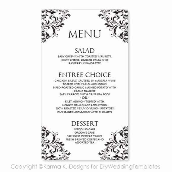 Wedding Menu Template Microsoft Word Lovely Wedding Menu Card Template Download Instantly by