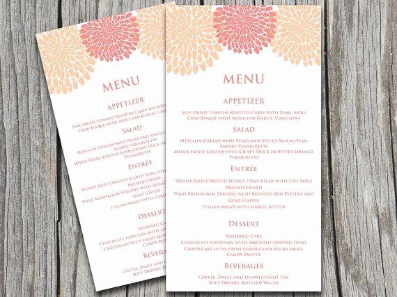 Wedding Menu Template Microsoft Word Luxury Entree Card Template Printable Chrysanthemum Wedding