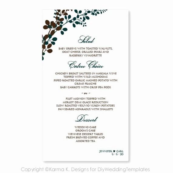 Wedding Menu Template Microsoft Word Luxury Wedding Menu Card Template Download by Diyweddingtemplates