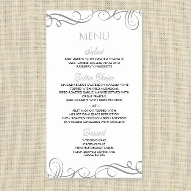 Wedding Menu Template Microsoft Word Luxury Wedding Menu Card Template Download Instantly Edit