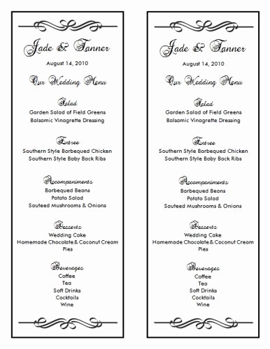 Wedding Menu Template Microsoft Word Luxury Wedding Menu Template 7