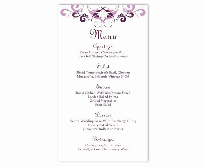 Wedding Menu Template Microsoft Word New Wedding Menu Template Diy Menu Card Template Editable Text