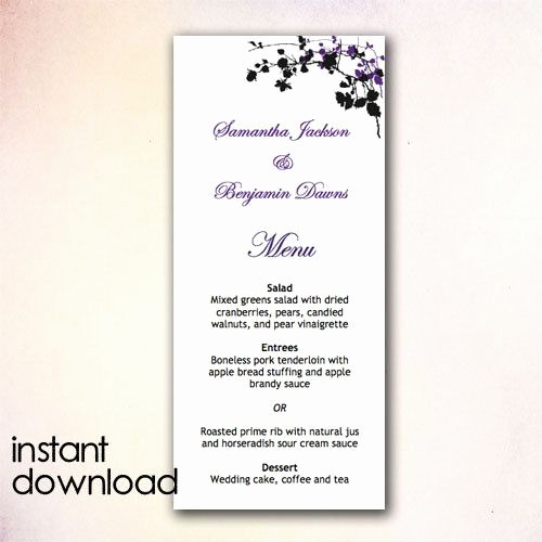 Wedding Menu Template Microsoft Word Unique Diy Wedding Menu Template Instant Download by Cheapobride