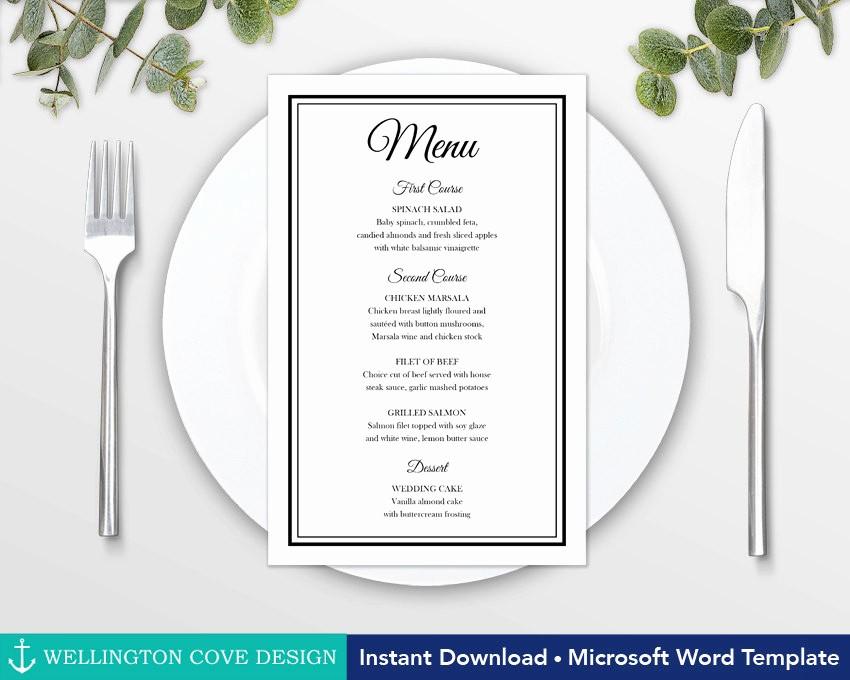 Wedding Menu Template Microsoft Word Unique Printable Wedding Menu Template for Microsoft Word Elegant