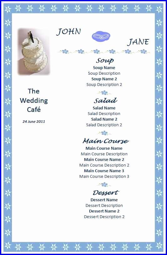 Wedding Menu Template Microsoft Word Unique Wedding Menu Template Ms Word Templates Ms Word Templates