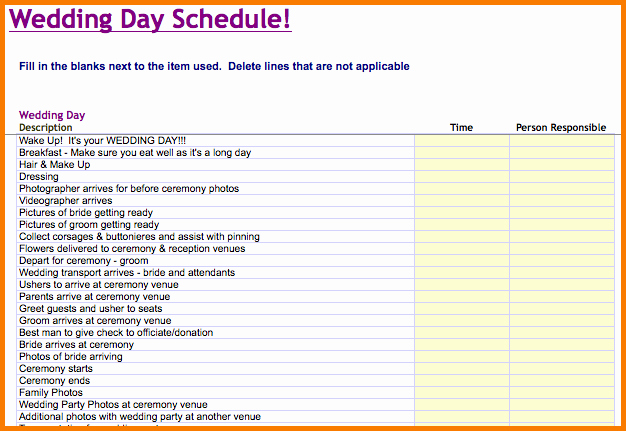 Wedding Planning Timeline Template Excel Inspirational 6 Wedding Day Timeline Template Free