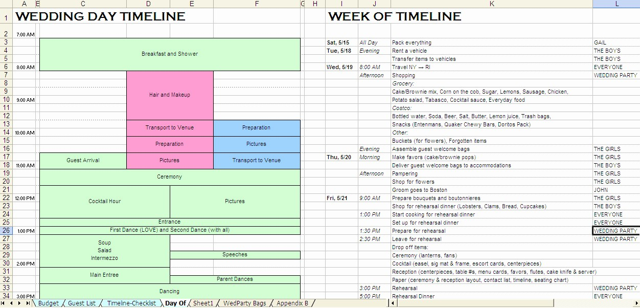 Wedding Planning Timeline Template Excel Inspirational Wedding Day Schedule Template Excel Madohkotupakka