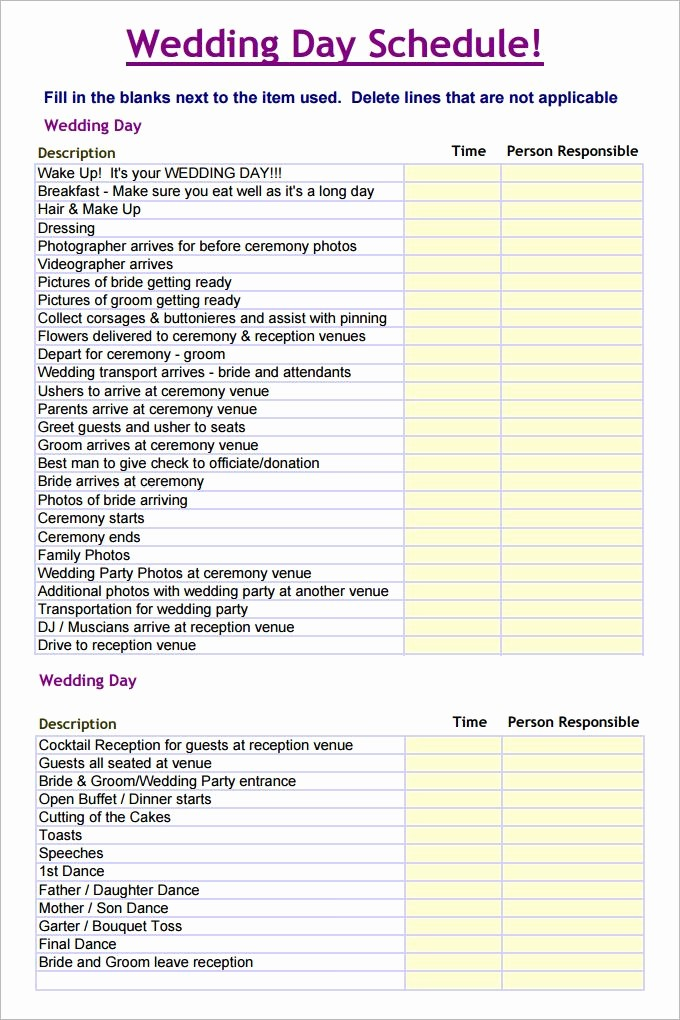 Wedding Planning Timeline Template Excel Inspirational Wedding Schedule Template – 25 Free Word Excel Pdf Psd