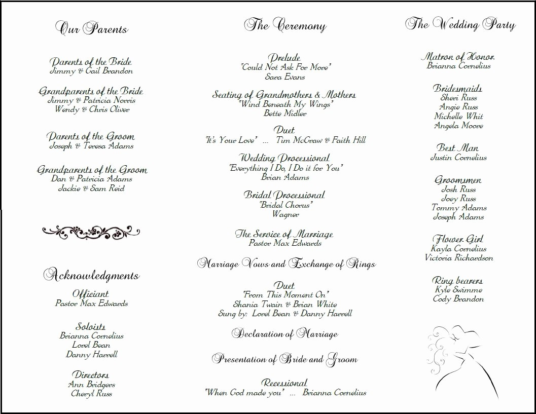 Wedding Programs Templates Free Download Awesome Wedding Program Template