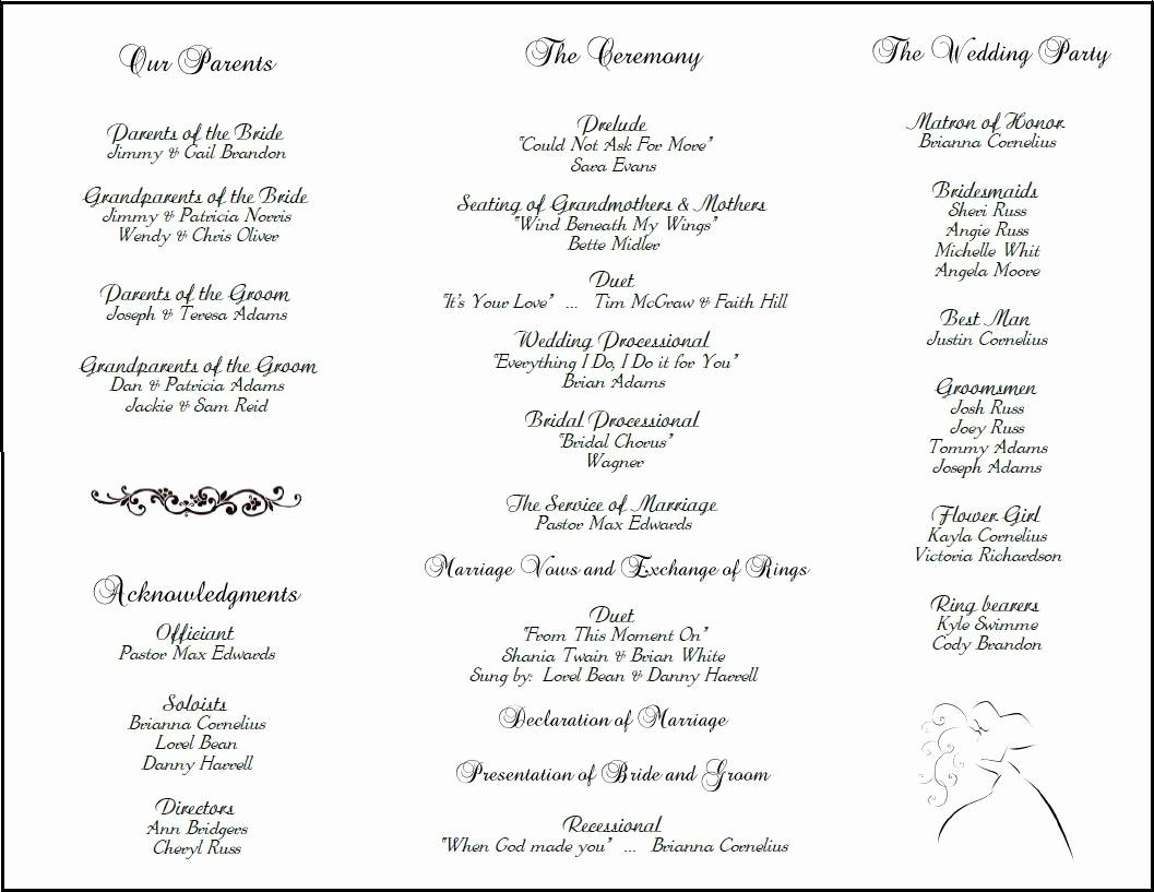 Wedding Programs Templates Free Download Awesome Wedding Program Template