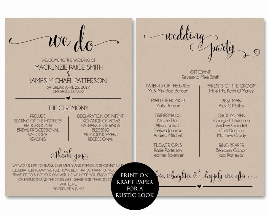 Wedding Programs Templates Free Download Awesome Wedding Program Template Wedding Program Printable We Do