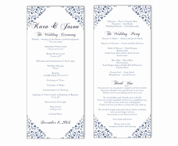 Wedding Programs Templates Free Download Best Of Wedding Program Template Diy Editable Text Word File