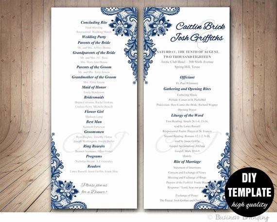 Wedding Programs Templates Free Download Inspirational Navy Blue Wedding Program Template Instant Download