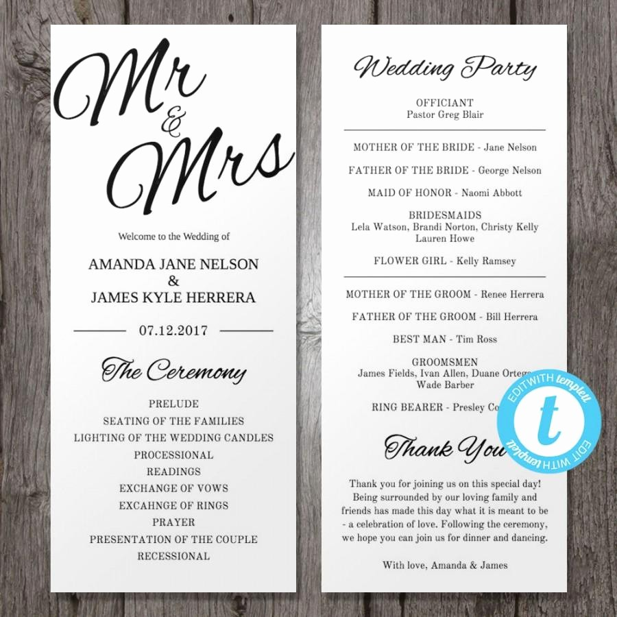 Wedding Programs Templates Free Download Inspirational Printable Wedding Program Template Mr & Mrs Instant