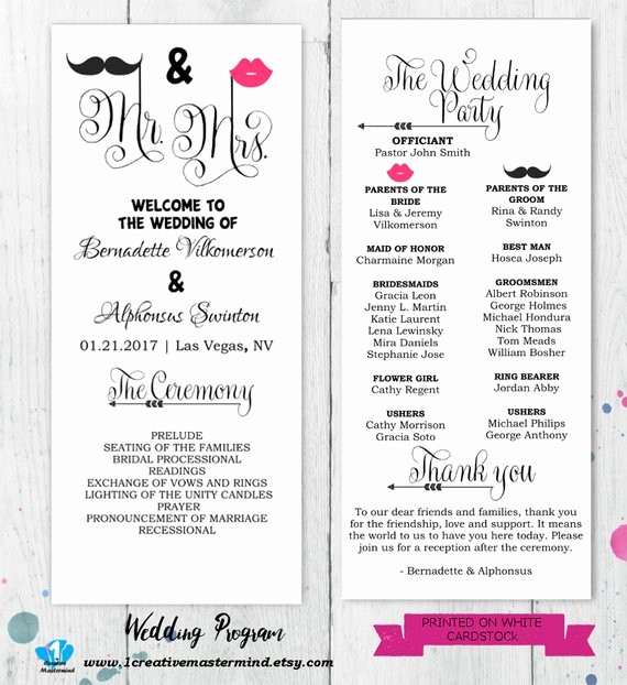 diy fun wedding program template
