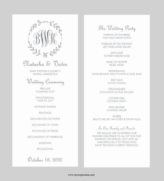 Wedding Programs Templates Free Download Lovely Wedding Program Template – Tea Length Gray Leaf Monogram