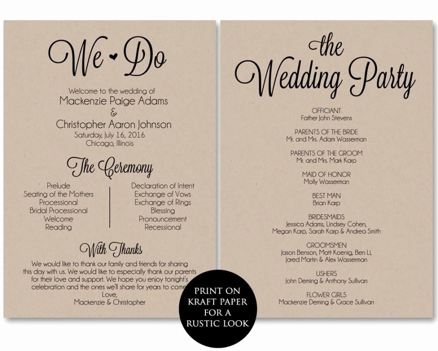 Wedding Programs Templates Free Download Unique Ceremony Program Template Wedding Program Printable We