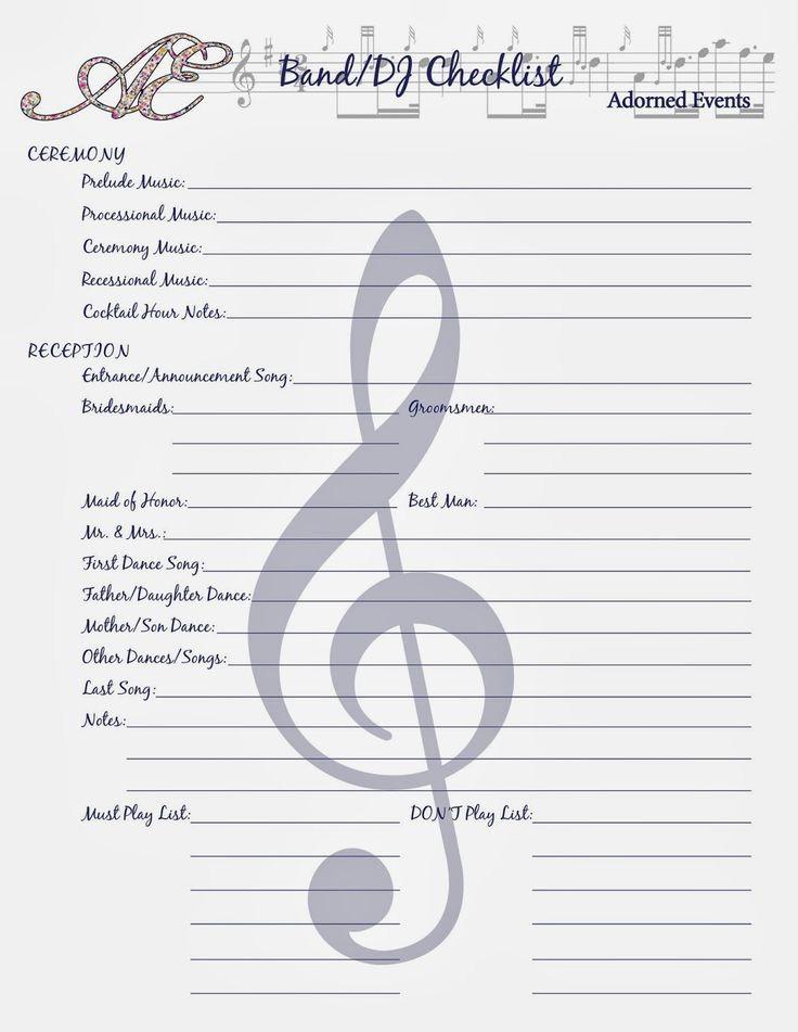 Wedding Reception song List Template Best Of Best 25 Wedding Coordinator Checklist Ideas On Pinterest