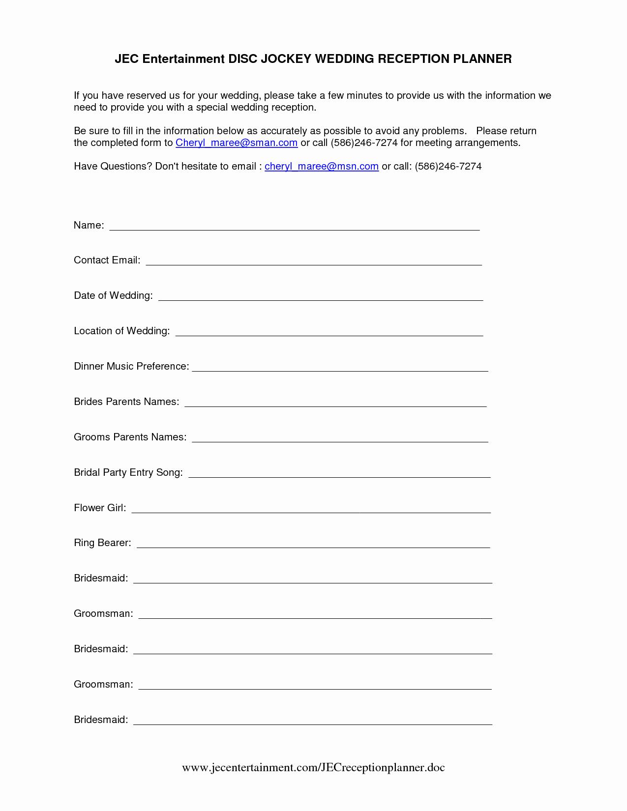 Wedding Reception song List Template Best Of Template Sample Wedding Reception Itinerary