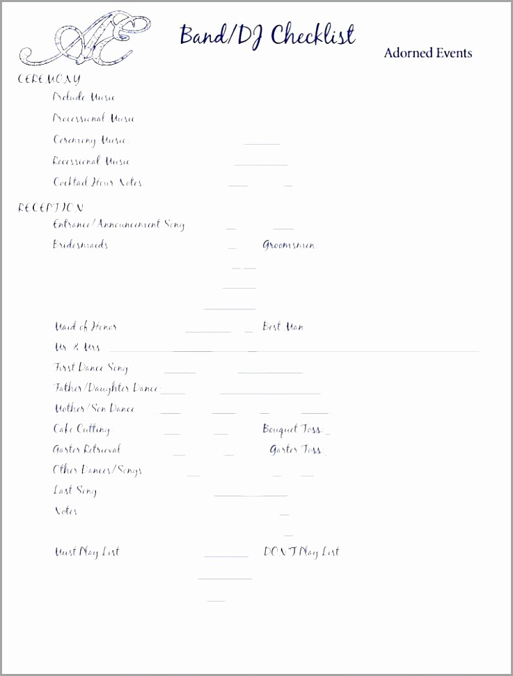 Wedding Reception song List Template Elegant 12 13 Wedding song Playlist Template