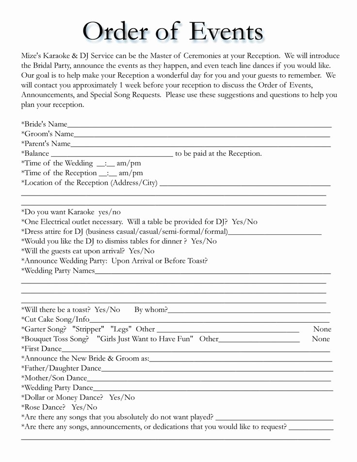 Wedding Reception song List Template Elegant order Of events for Wedding Dj Yes