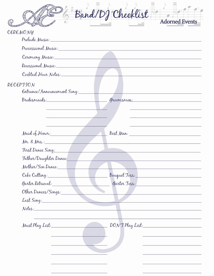 Wedding Reception song List Template Fresh 25 Best Ideas About Reception Checklist On Pinterest