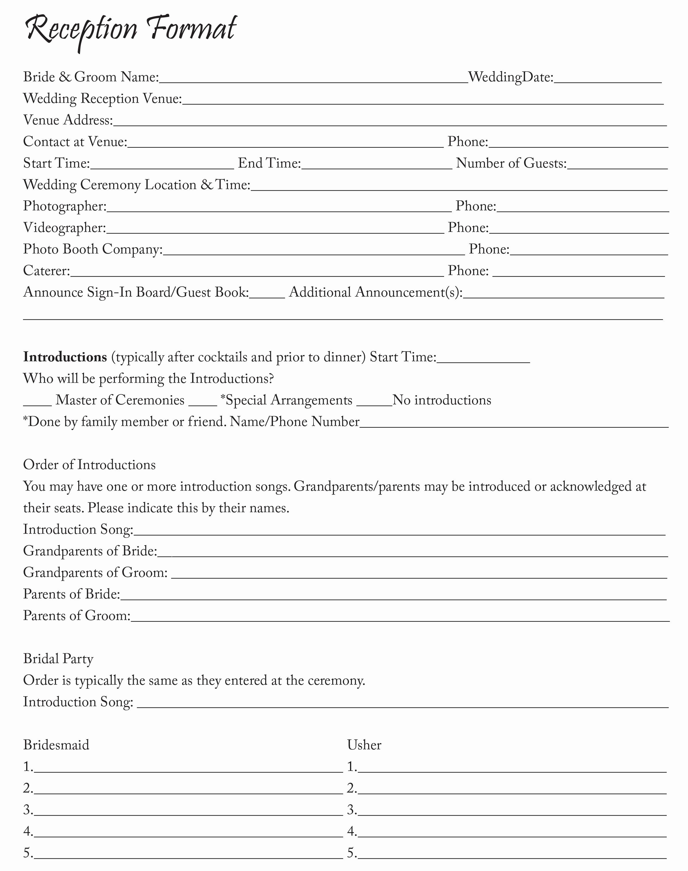 Wedding Reception song List Template Inspirational Reception format Sheet
