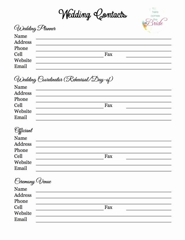 Wedding Reception song List Template Luxury Wedding Planning Vendor Contact List
