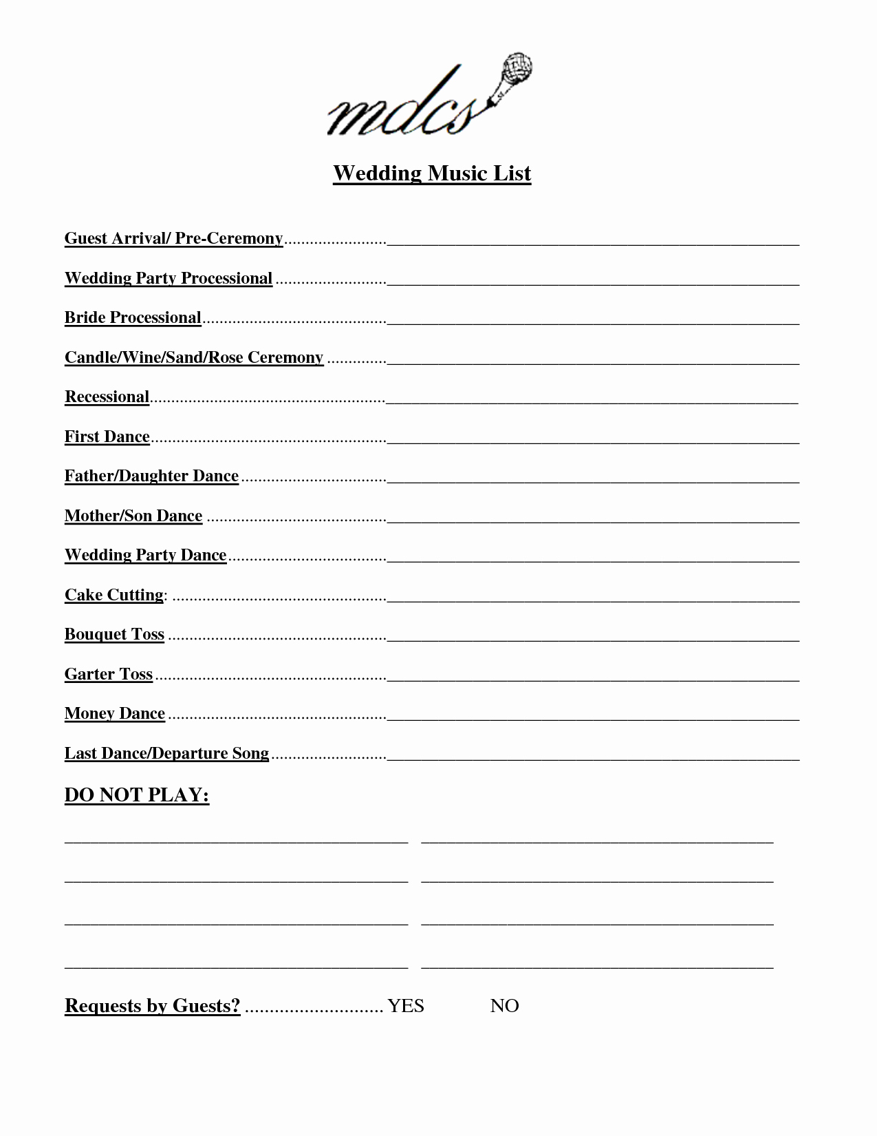 Wedding Reception song List Template New Wedding Party List Template Free